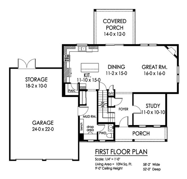 Traditional Floor Plan - Main Floor Plan Plan #1010-243