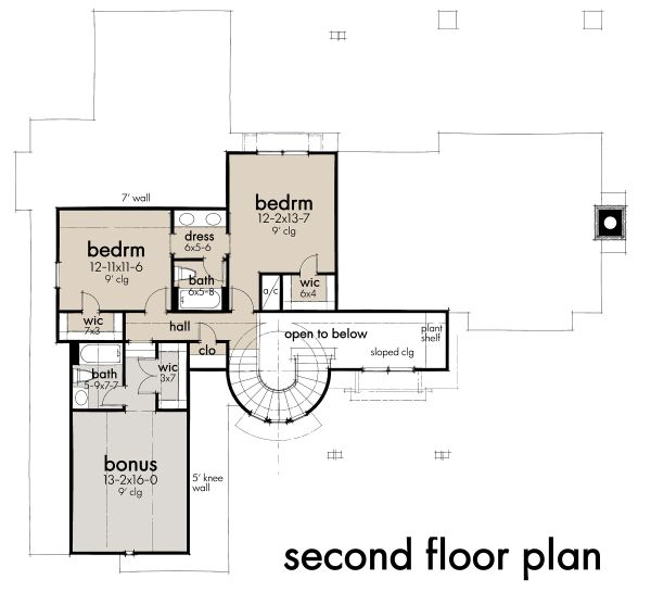 Contemporary Floor Plan - Upper Floor Plan Plan #120-268