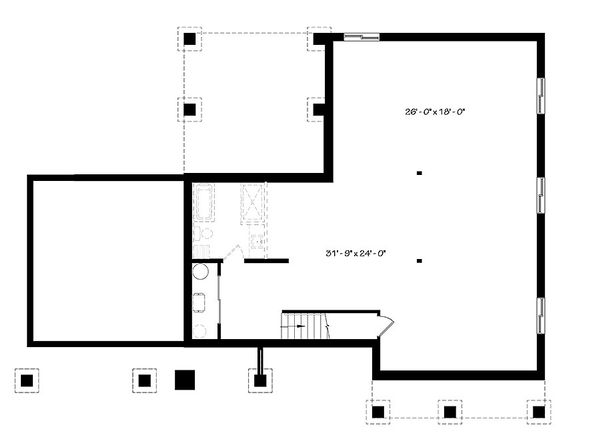 Ranch Style House Plan - 3 Beds 1 Baths 1604 Sq/Ft Plan #23-2649 Floor Plan - Lower Floor Plan