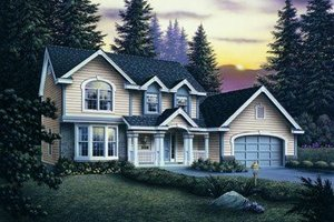 Architectural House Design - Traditional Exterior - Front Elevation Plan #57-124