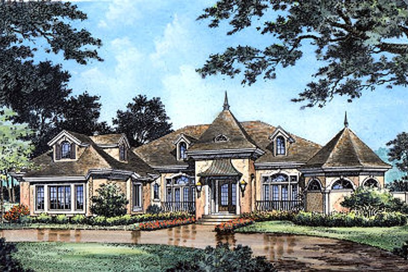 European Style House Plan - 4 Beds 4 Baths 3064 Sq/Ft Plan #417-420 Exterior - Front Elevation