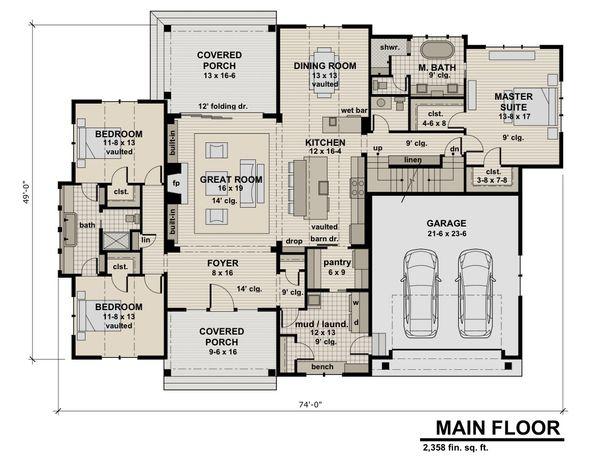 Contemporary Floor Plan - Main Floor Plan Plan #51-585