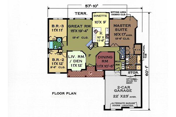 Ranch Floor Plan - Main Floor Plan Plan #3-150