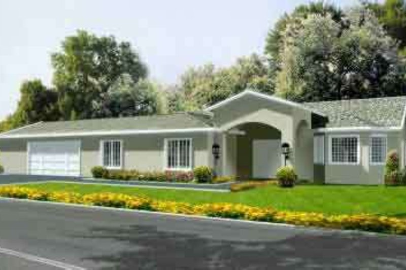European Style House Plan - 3 Beds 2 Baths 1933 Sq/Ft Plan #1-1381 Exterior - Front Elevation