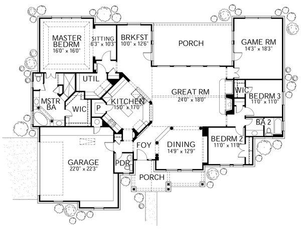 Traditional Floor Plan - Main Floor Plan Plan #80-166