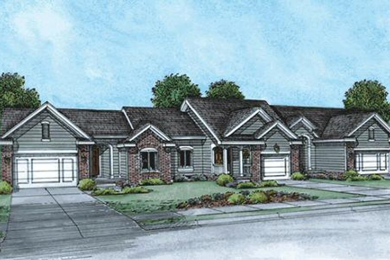 Ranch Style House Plan - 2 Beds 2 Baths 3776 Sq/Ft Plan #20-1574 Exterior - Front Elevation