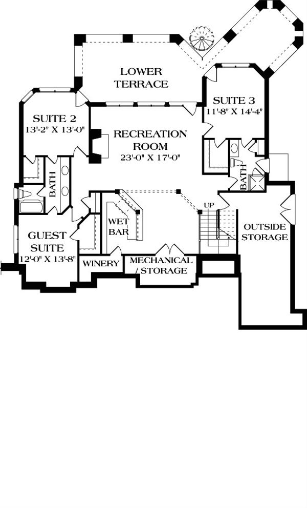 Craftsman Floor Plan - Lower Floor Plan Plan #453-22