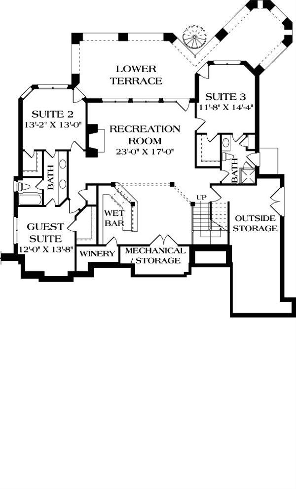 Craftsman Floor Plan - Lower Floor Plan Plan #453-22