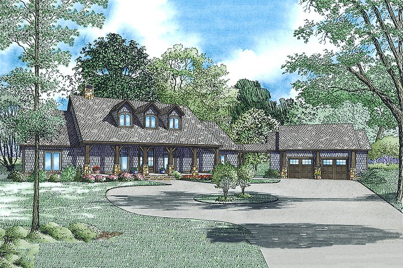 European Style House Plan - 5 Beds 4.5 Baths 4469 Sq/Ft Plan #17-2567 Exterior - Front Elevation