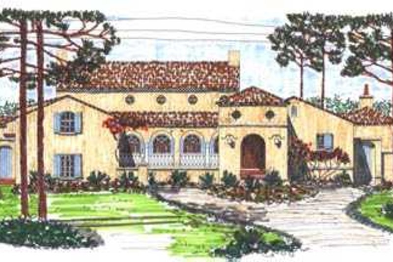Mediterranean Style House Plan - 3 Beds 2.5 Baths 4040 Sq/Ft Plan #76-117 Exterior - Front Elevation