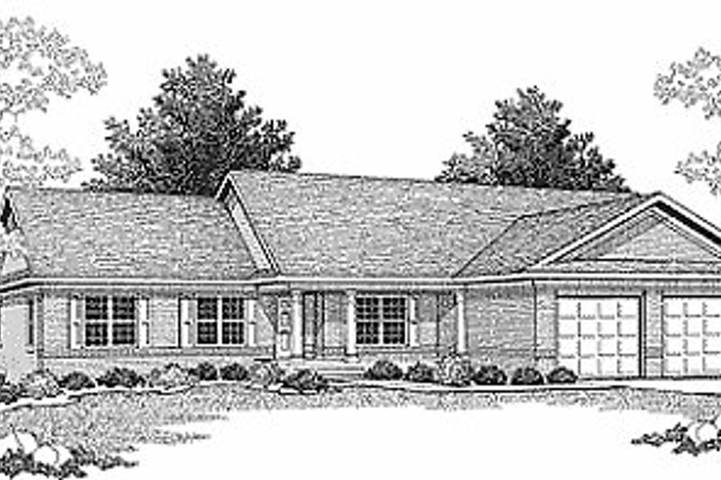 Traditional Style House Plan - 4 Beds 2.5 Baths 2136 Sq/Ft Plan #70-315 Exterior - Front Elevation