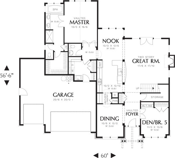 Craftsman Floor Plan - Main Floor Plan Plan #48-632