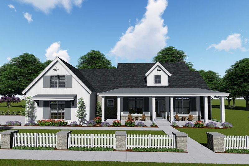Farmhouse Style House Plan - 3 Beds 3 Baths 2590 Sq/Ft Plan #1069-4 Exterior - Front Elevation