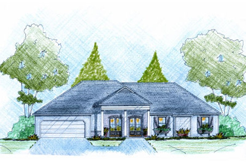 Ranch Style House Plan - 3 Beds 2 Baths 1862 Sq/Ft Plan #36-502 Exterior - Front Elevation