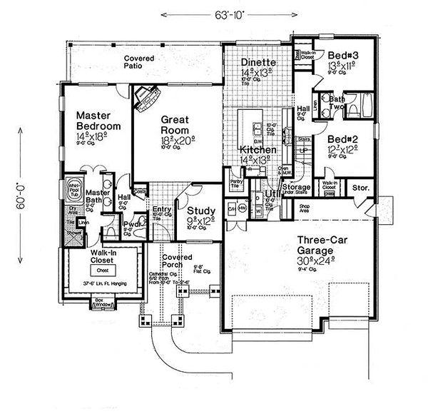 Ranch Floor Plan - Main Floor Plan Plan #310-1312