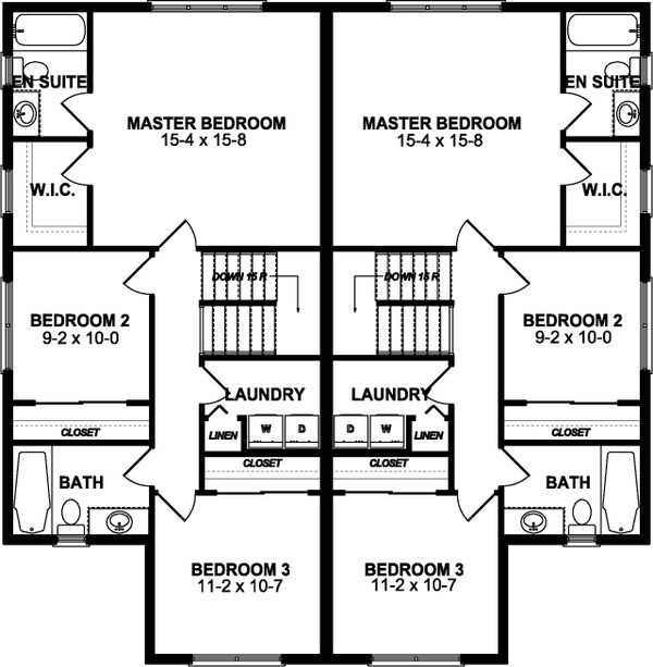 Craftsman Floor Plan - Upper Floor Plan Plan #126-196