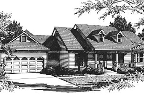 Southern Exterior - Front Elevation Plan #14-102
