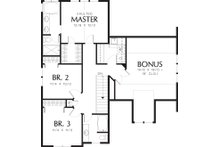 Upper level floor plan - 1950 square foot Craftsman home