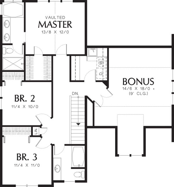 Upper level floor plan - 1950 square foot Craftsman home