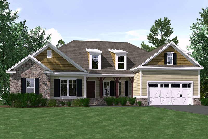 Ranch Style House Plan - 4 Beds 2 Baths 2184 Sq/Ft Plan #1071-3 Exterior - Front Elevation