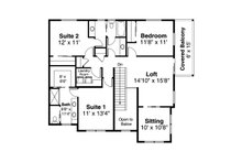 Craftsman Floor Plan - Upper Floor Plan Plan #124-1205