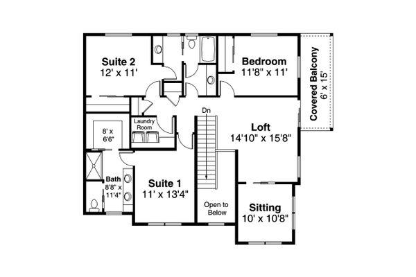 Craftsman Floor Plan - Upper Floor Plan #124-1205