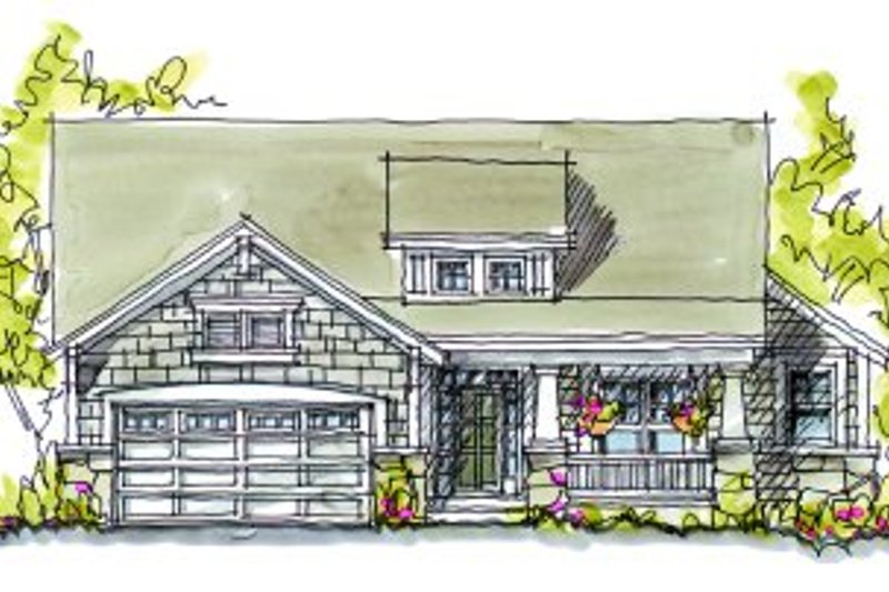 Architectural House Design - Cottage Exterior - Front Elevation Plan #20-163