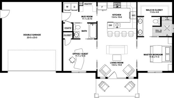 Farmhouse Floor Plan - Main Floor Plan #126-175