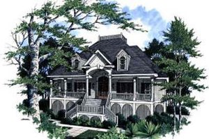 Southern Exterior - Front Elevation Plan #37-225