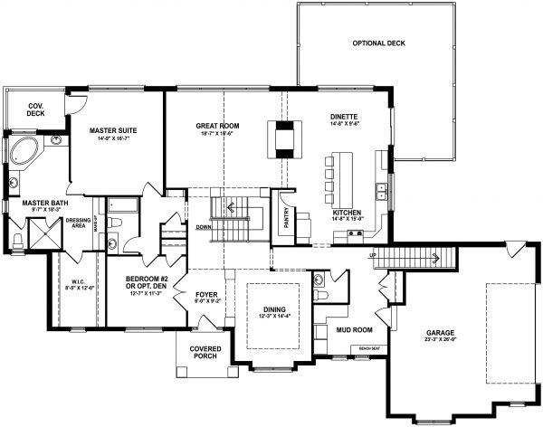 Craftsman Floor Plan - Main Floor Plan Plan #1057-12
