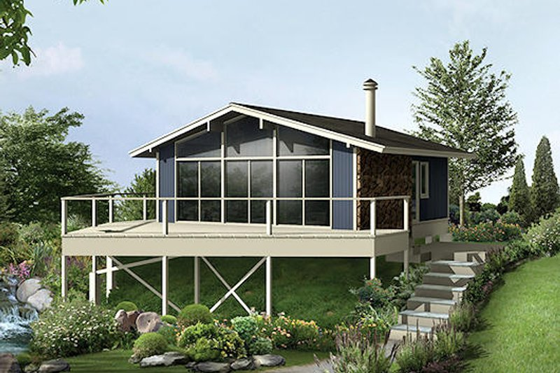 Contemporary Style House Plan - 2 Beds 1 Baths 624 Sq/Ft Plan #57-475 Exterior - Front Elevation