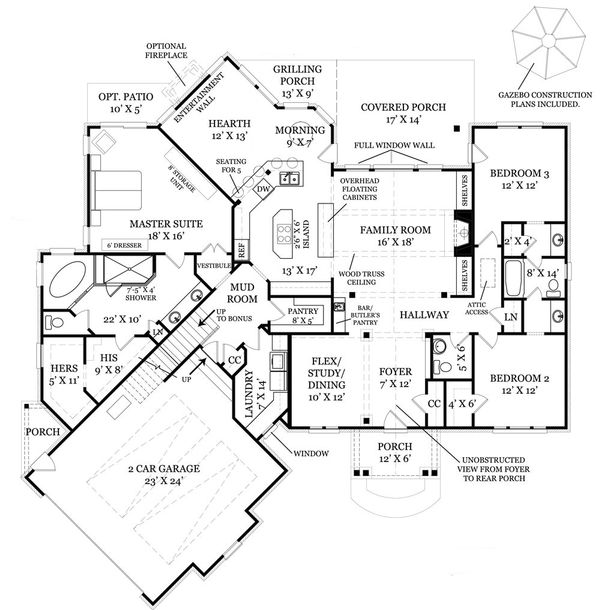 Craftsman Floor Plan - Main Floor Plan Plan #119-369