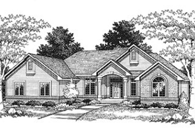 Traditional Style House Plan - 2 Beds 2.5 Baths 1938 Sq/Ft Plan #70-499 Exterior - Front Elevation