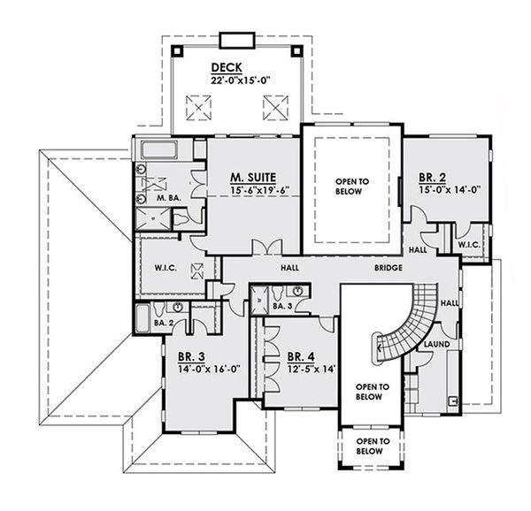Classical Floor Plan - Upper Floor Plan Plan #1066-18