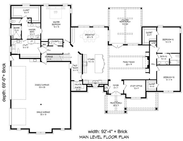 Country Floor Plan - Main Floor Plan Plan #932-313