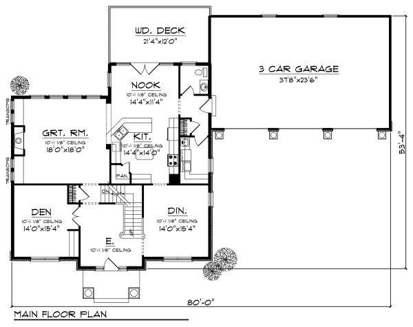European Floor Plan - Main Floor Plan Plan #70-882