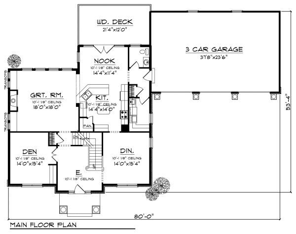 European Floor Plan - Main Floor Plan Plan #70-882