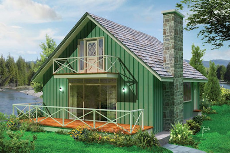 Cottage Style House Plan - 3 Beds 1.5 Baths 1200 Sq/Ft Plan #57-496 Exterior - Front Elevation