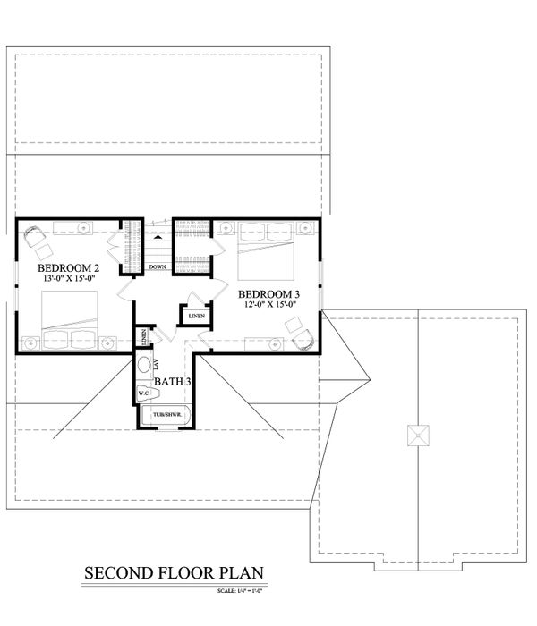Farmhouse Floor Plan - Upper Floor Plan Plan #137-273