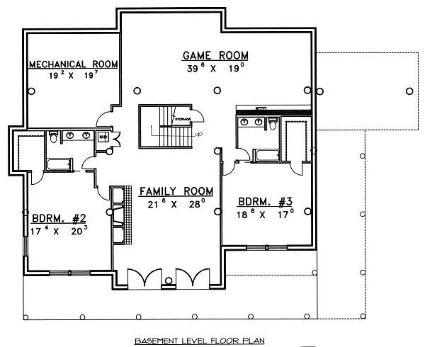 Log Floor Plan - Lower Floor Plan #117-506