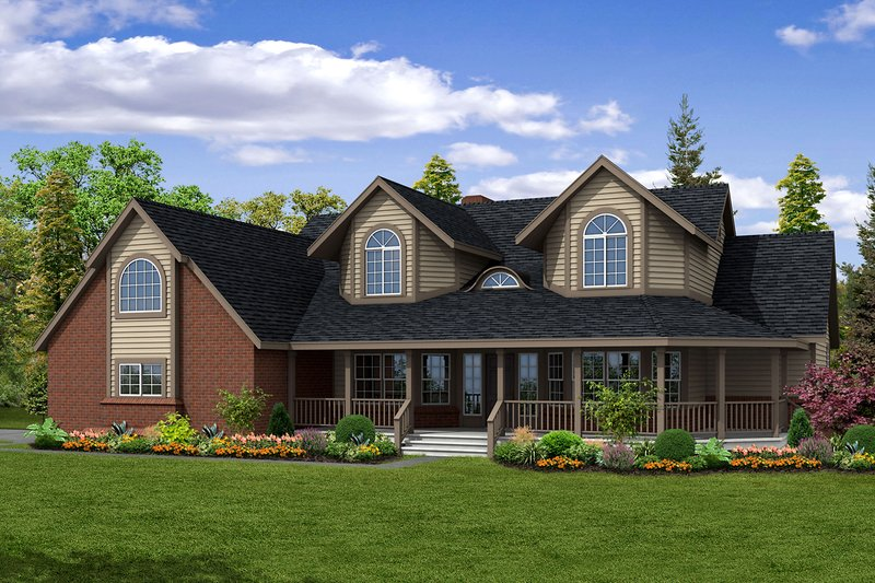 Dream House Plan - Farmhouse Exterior - Front Elevation Plan #124-187