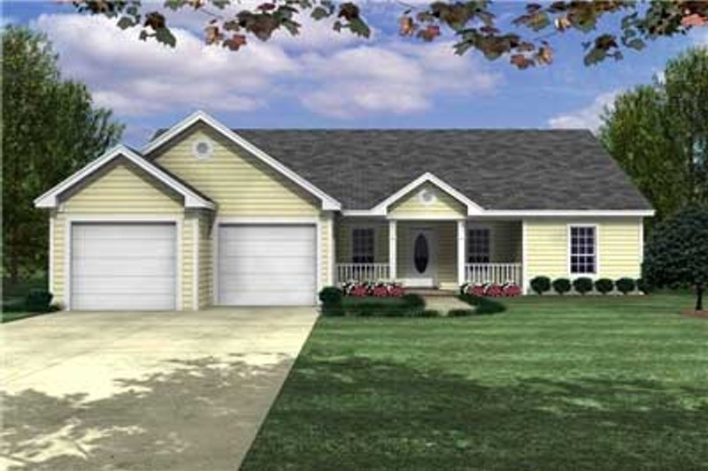 Ranch Style House Plan - 3 Beds 2 Baths 1488 Sq/Ft Plan #21-125 Exterior - Front Elevation