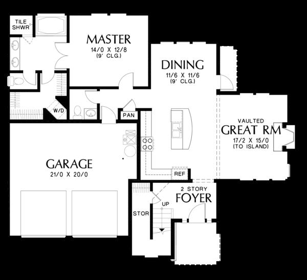 Craftsman Floor Plan - Main Floor Plan #48-677