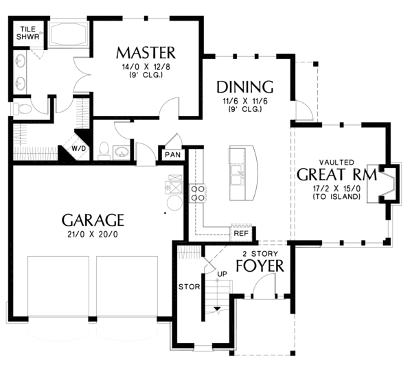 Craftsman Floor Plan - Main Floor Plan Plan #48-677