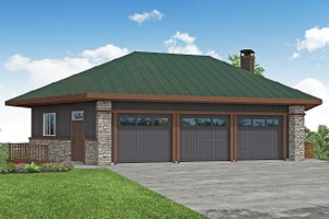 Prairie Exterior - Front Elevation Plan #124-1198