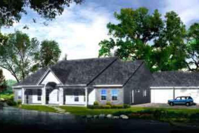 Traditional Style House Plan - 2 Beds 2 Baths 2888 Sq/Ft Plan #1-1201 Exterior - Front Elevation