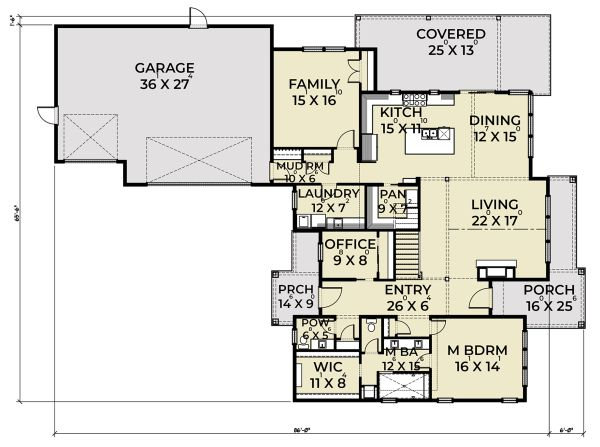 Farmhouse Floor Plan - Main Floor Plan Plan #1070-41