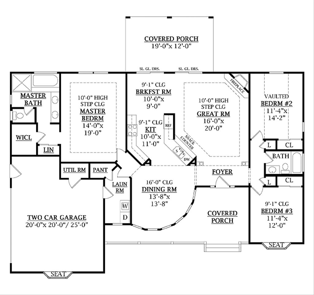 Country Style House Plan - 3 Beds 2 Baths 1800 Sq/Ft Plan ... on