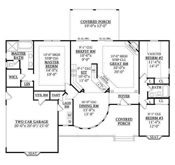 Country Floor Plan - Main Floor Plan Plan #456-1