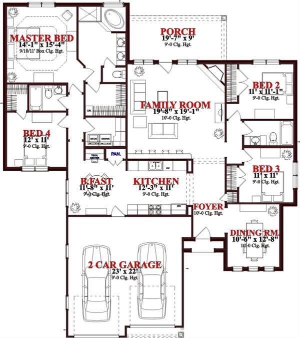 European Floor Plan - Main Floor Plan Plan #63-245